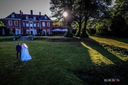 Lainston House Wedding with Bride & Groom. Drone Photography